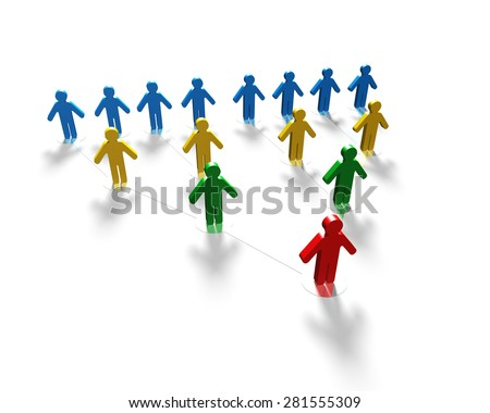 3D multi-colored men connecting, organization structure concepts. - stock photo