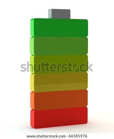 3d multi-coloured battery - stock photo