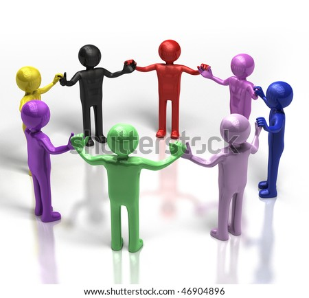 3D multi-coloured people holding hands in a circle - stock photo