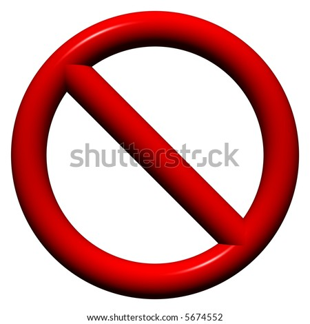 3D multi-use no admittance sign isolated on white - stock photo