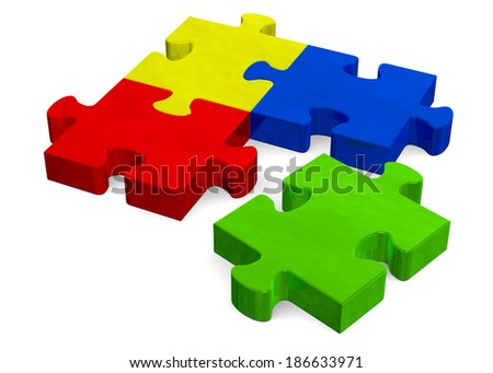 3d multicolor puzzle with green missing piece isolated on white, perspective view