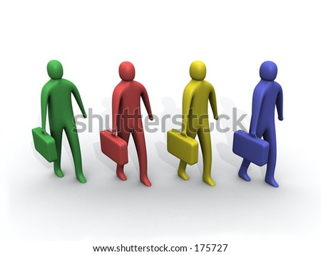 3d multicolored people holding briefcases. - stock photo