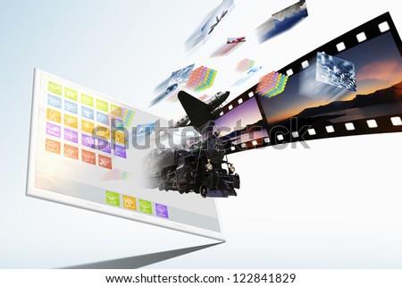 3D Multimedia illustration - mobile internet concept background - stock photo