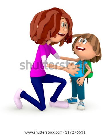 3D Mum sending kid to the school - isolated over a white background - stock photo
