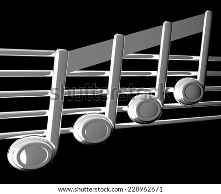 3D music note on staff on a black background - stock photo