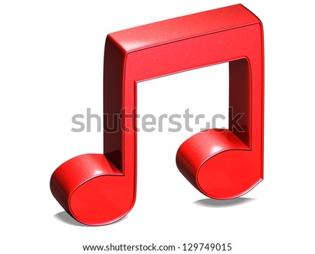 3D Music Note Red Sign on white background - stock photo