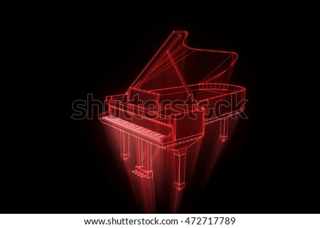 3D Music Piano in Wireframe Hologram Style. Nice 3D Rendering
