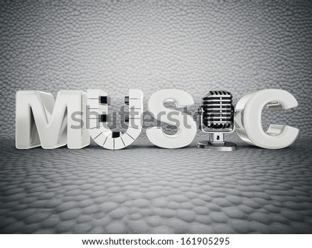 3d  music sign isolated on a white background