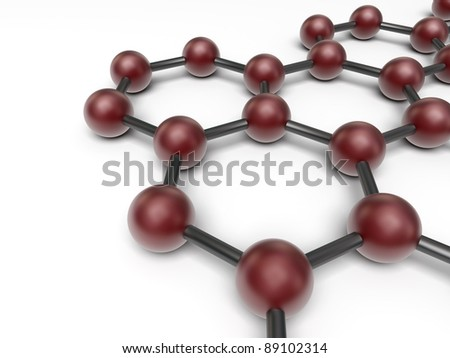 3d nano structure on the white background - stock photo