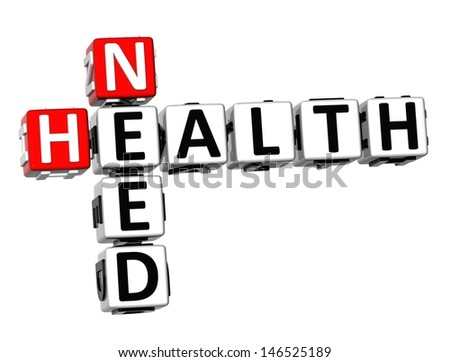 3D Need Health Crossword on white background