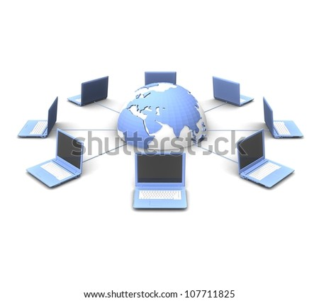 3d network concept - stock photo