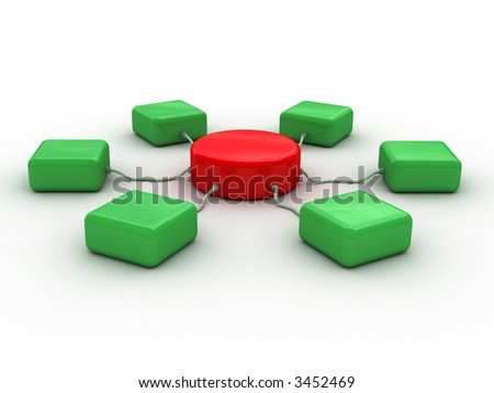 3d network concept (Conceptual 3D image can be used as abstract background for printing and web) - stock photo