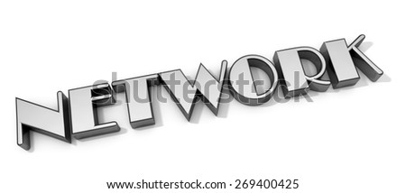 3D Network word on white isolated background - stock photo