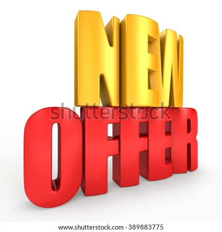 3D new offer word on white isolated background