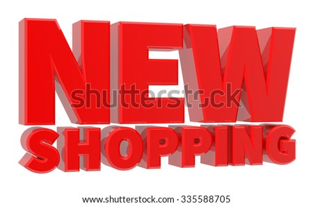 3D NEW SHOPPING word 3d rendering - stock photo