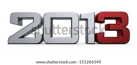3D new year 2013... - stock photo