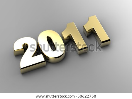 3d new year 2011 - stock photo
