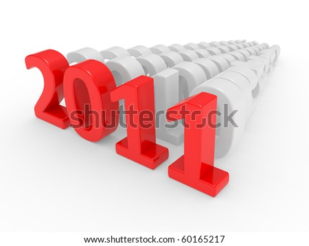 3D new year 2011 on a white background