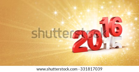 3D New Year red 2016 over 2015 on a gold background with sparkling lights
