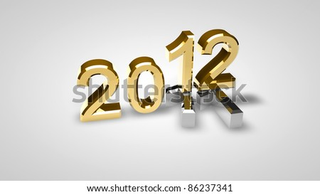 3D new year 2012 rendering