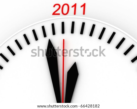 3d New Year's clock on white background