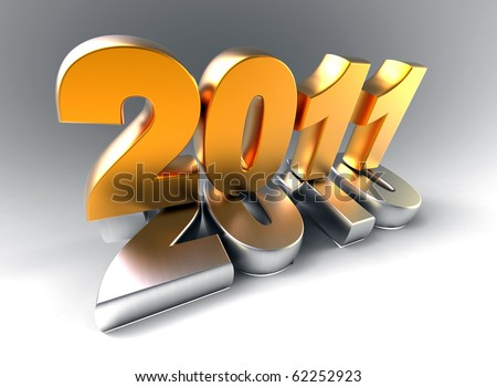 3d new year 2011 symbol - stock photo