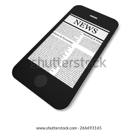 3D. Newspaper, The Media, Mobile Phone.