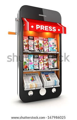 3d newsstand smartphone, isolated white background, 3d image - stock photo