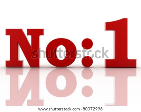 "3D ""No. 1"" on a white background. - stock photo"
