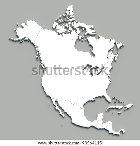 3d north america map on grey - stock photo