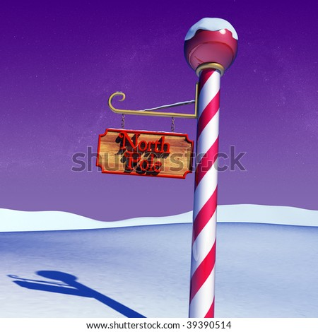 3d north pole - stock photo