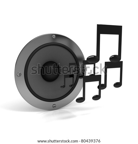 3d notes with speaker over white background