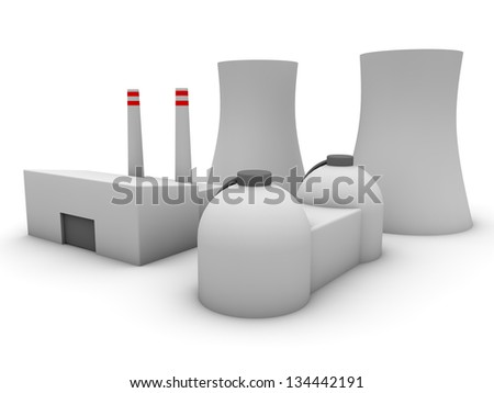 3d Nuclear power plant - stock photo