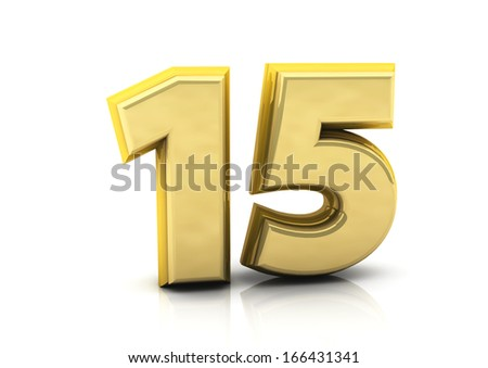 3d number fifteen gold   - stock photo