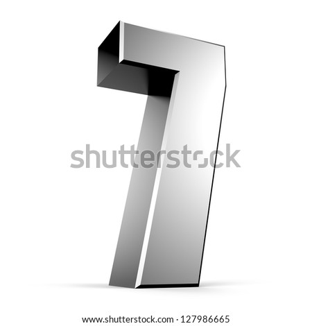 3D number 7 from my metal number collection - stock photo