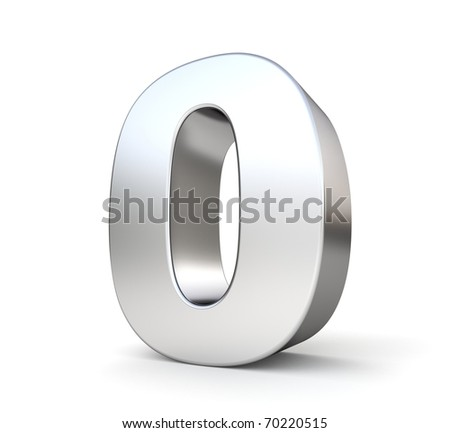 3d number 0 - from my metal number collection - stock photo