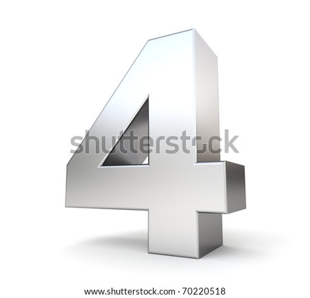 3d number 4 - from my metal number collection - stock photo