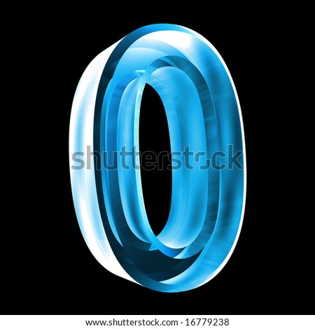 3d number 0 in glass - stock photo