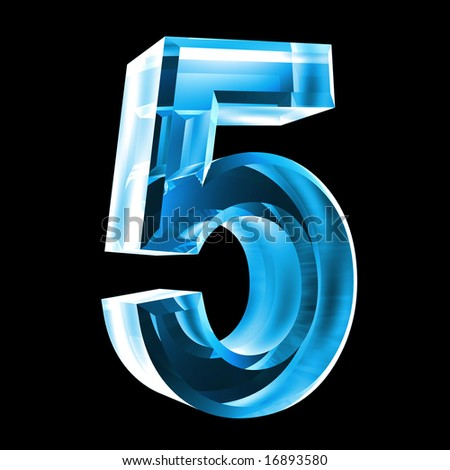 3d number 5 in glass - stock photo