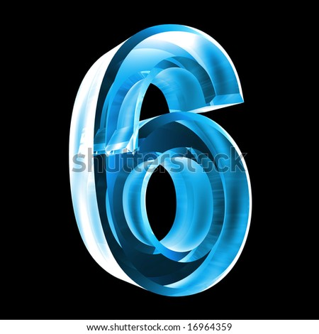 3d number 6 in glass - stock photo