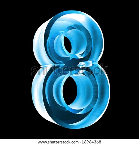 3d number 8 in glass - stock photo