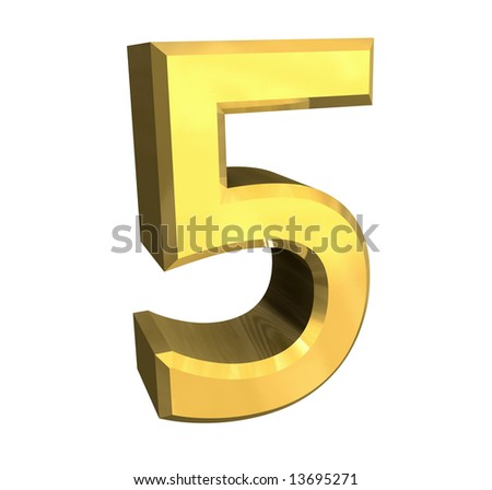 3d number 5 in gold - stock photo