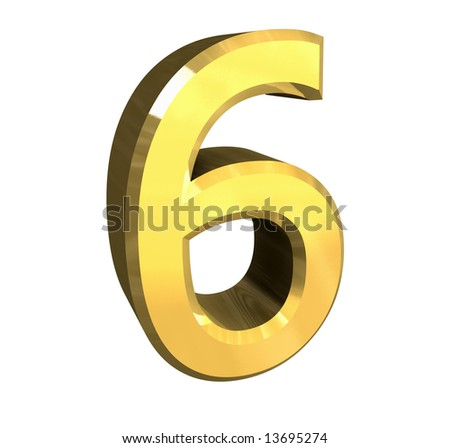 3d number 6 in gold - stock photo