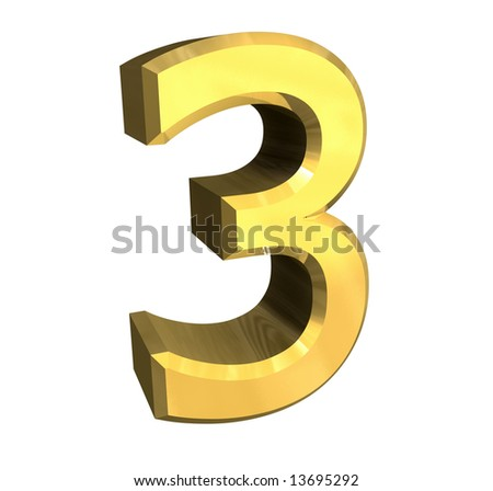 3d number 3 in gold - stock photo