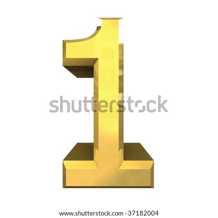 3d number 1 in gold - stock photo