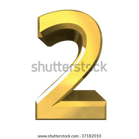 3d number 2 in gold - stock photo