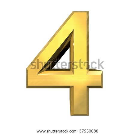 3d number 4 in gold - stock photo