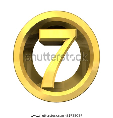 3d number 7 in gold - stock photo