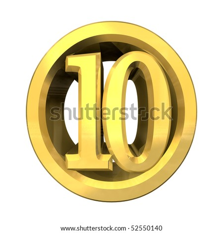 3d number 10 in gold - stock photo