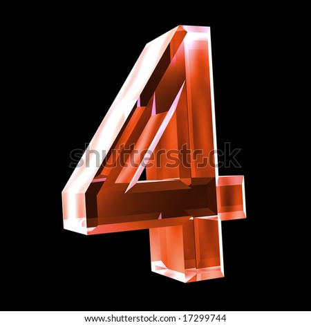 3d number 4 in red glass - stock photo